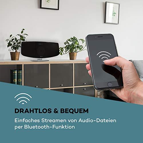 auna BlackMask Vertikal-Stereoanlage, MP3-fähiger CD-Player, FM und DAB+ Radiotuner, Bluetooth-Funktion, Blackmask Display: Negatives LCD-Display, AUX-Eingang, USB-Port, Kopfhöreranschluss, schwarz