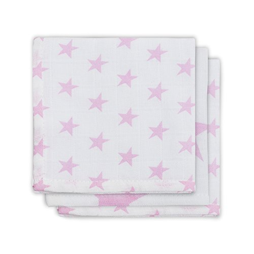 Jollein 537-848-65029 Mull Mundtuch Little star, 3 pack, rosa