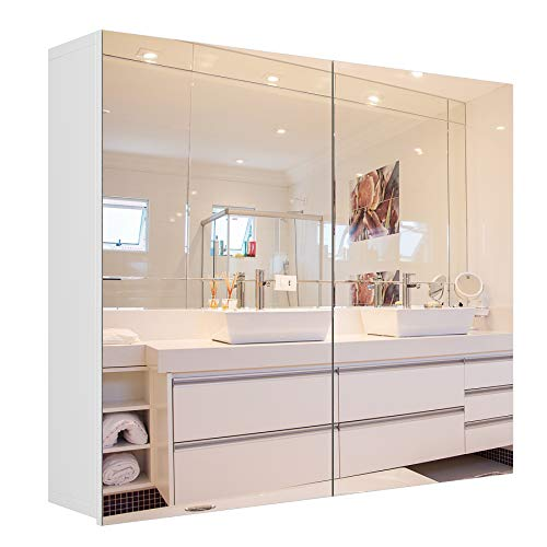 Homfa Bathroom Mirror Cabinet, 27.6 X 23.6 Inch Wall Mounted Medicine Cabinet with Adjustable Shelf, Storage Mirror Cabinet with Double Doors, Recessed or Surface Mounting-White