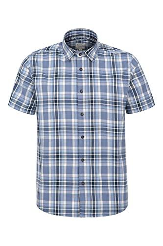 Mountain Warehouse Weekender Kurzarmhemd für Herren - Sommerhemd aus 100% Baumwolle, Freizeithemd, atmungsaktiv Kariertes Hemd, bequemes Oberteil Kurzarm-Shirt Indigo XXL