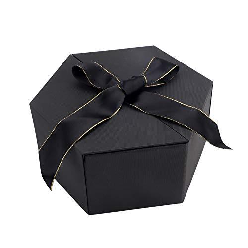 Boîte cadeau avec nœud en ruban, boîte hexagonale en carton pour cadeaux cosmétiques bijoux boîte de présentation pour Noël anniversaire vacances mariage Saint Valentin anniversaire de mariage (Noir)
