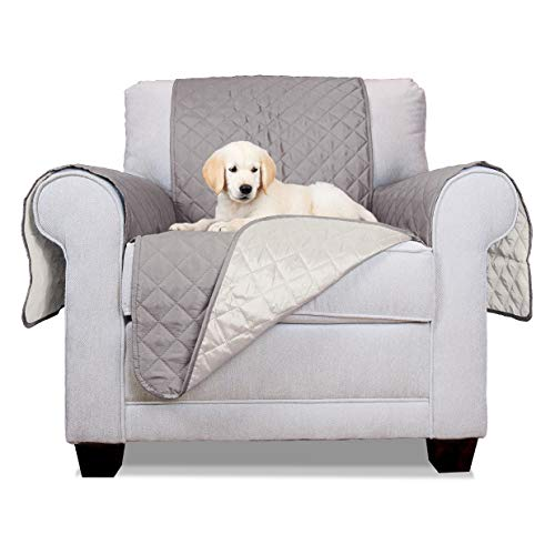 Furhaven Pet Furniture Cover | Two-Tone Reversible Water-Resistant Living Room Furniture Cover Protector Pet Bed for Dogs & Cats, Gray & Mist, Chair