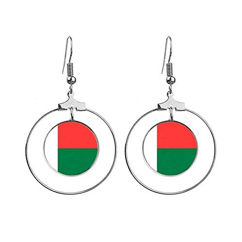 Madagaskar Nationale Vlag Afrika Land Oorbellen Dangle Hoop Sieraden Drop Cirkel