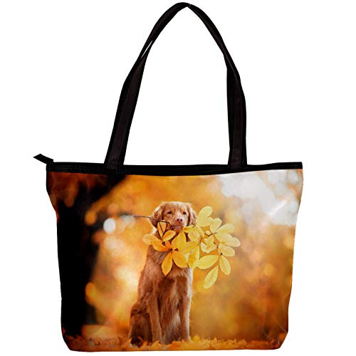 Woman Laptop Tote Bag USB Teacher Bag Large Work Bag Purse Fits Tablet Book Notebook Dog Leaves 11.8x4.1x15.4in