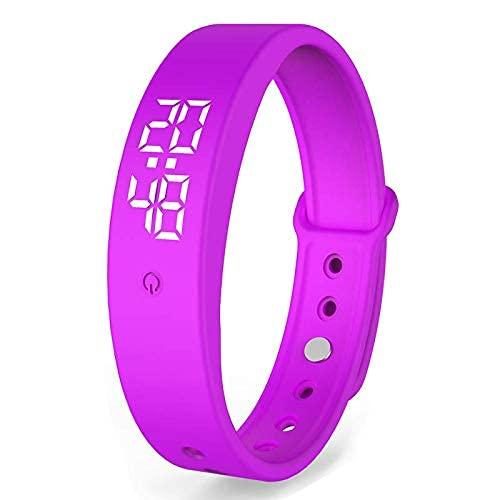 Neues Körpertemperaturthermometer, Smart Band, Sportarmband und täglicher Gebrauch. Stoppuhr und Alarm. (violett)