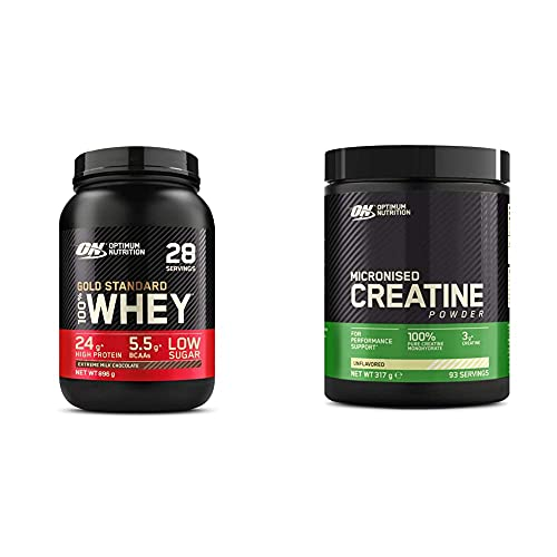 Optimum Nutrition Gold Standard 100% Whey Proteine in Polvere con Proteine Isolate ed Aminoacidi per la Massa Muscolare + Micronised Creatine Monohydrate, Creatina Monoidrato in Polvere