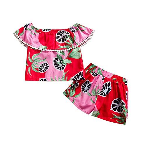 Ropa Bebe Niña Verano Tropical Frutas Estampado Camiseta para Niñas Volante Blusa Niña T-Shirt + Pantalones Cortos Conjunto Ropa Niña Princesa Disfraz Nina Vestir Chica Traje (Rojo, 5-6 años)