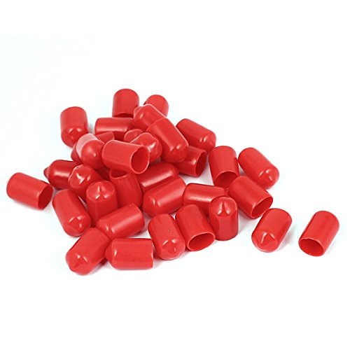 Aexit Vinyl End Shaft Collars Cap Wire Cable Tube Cover Protector 10mm Inner Dia Heat Shrinkable Shaft Collars 35pcs Red