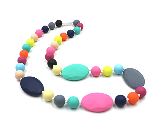 Baby Teething Necklace for Mom to Wear, Silicone Chew Necklace Teether Nursing Necklaces for Sensory Kids, Chewable Baby Necklace Beads Toys Reduce Teething Pain, Oblate and Round Long for Adults
