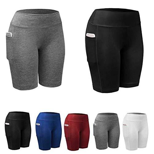 hemker Women Sports Fitness Running Crop Trousers Leggings with Pocket Active Shorts Black