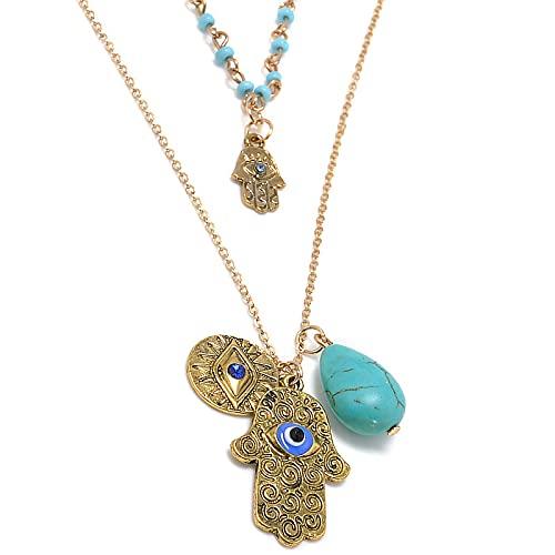 ZYLL Vintage Multicapa Oro Fátima Hamsa Collares Pendientes de Mano Bohemia Piedra Azul Maxi Palma de Doble Capa Collares Joyería de Mujer