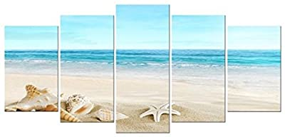 Pyradecor Seashell Landcape 5 Panels Seascape Giclee Canvas Prints on Modern Stretched and Framed Canvas Wall Art Sea Beach Pictures Artwork for Home D¨¦cor