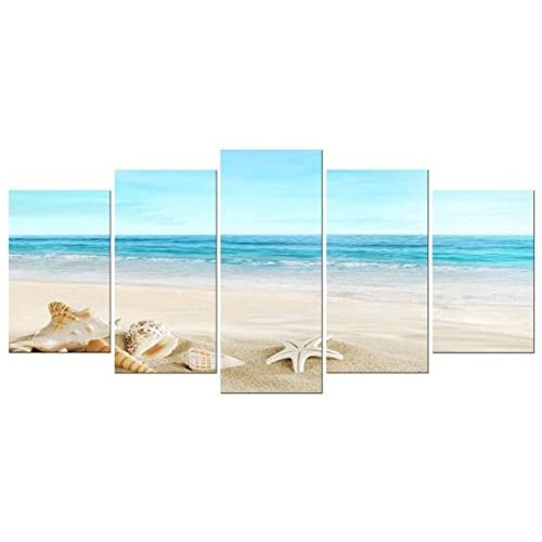 Pyradecor Seashell 5 Panels Seascape Giclee Canvas Prints Landscape Pictures Paintings On Modern Stretched And Framed