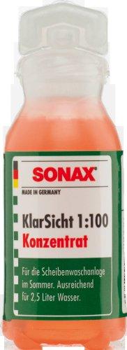 SONAX KlarSicht 1:100 Konzentrat Thekendisplay (25 ml) hochkonzentrierter Reinigungszusatz für die Scheibenwaschanlage im Sommerbetrieb | Art-Nr. 03711000