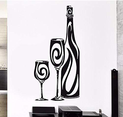 sufengshop Zwarte Wijn Glas Gesneden Verwijderbare Muurstickers voor Woonkamer Slaapkamer Slaapbank Achtergrond Home Decor Aanpassing Grootte 70×42cm