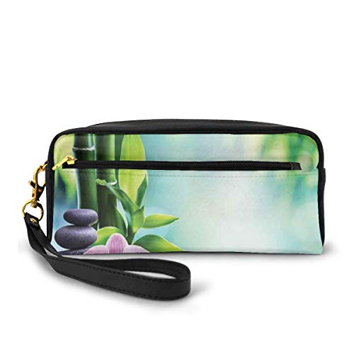Pencil Case Pen Bag Pouch Stationary,Symbolic Spa Features with Candle and Bamboos Tranquil and Thoughtful Life Nature Print,Small Makeup Bag Coin Purse