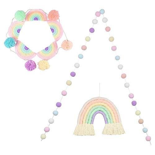 DrCor Pastel Rainbow Pom Pom Garland for Nursery Kids Room Bedroom Baby Shower