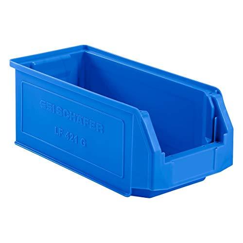 SSI Schäfer Kunststoffbox Sortierbox Stapelbox LF 421, Aufbewahrung, Made in Germany, Polypropylen (PP), L 380 x B 185 x H 154 mm, 7,8 l, Blau