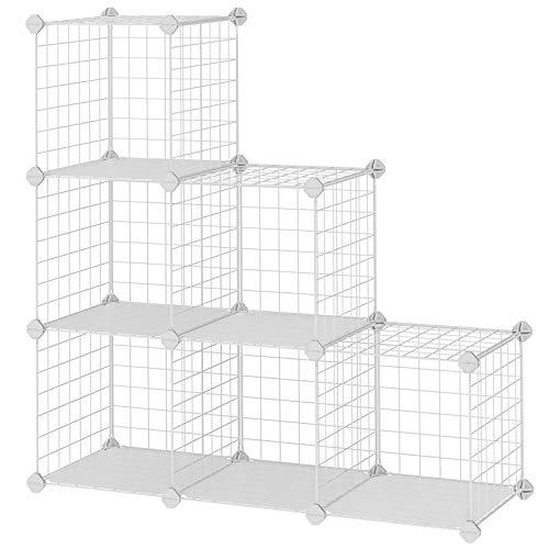 SONGMICS Gitterregal mit 6 Fächer, aufstellbares Regalsystem Buecherregal, Drahtregal 93 x 31 x 93 cm LPI111W