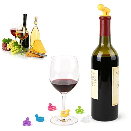 COJOY Wine Stopper Gift Set with 6 Pieces of Multi-coloured Silicone Wine Charms