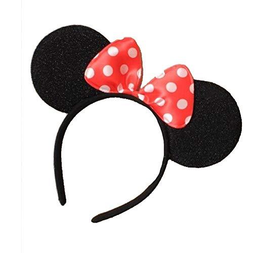 Noir Minnie Mouse Oreilles sur la Bande D'Alice avec Rouge et Blanc Nœud A Pois