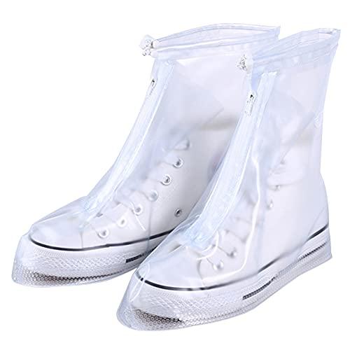 PAEFIU Cubrecalzado Impermeable,Funda De PVC Para Zapatos, Zapatos Con Suela Antideslizante Y Diseño De Cremallera,Funda De Zapato Reutilizable & Impermeable Para Días De Lluvia Y Nieve (L)