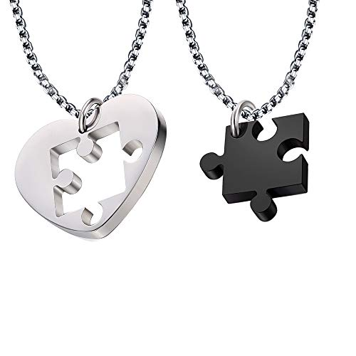 JTOOYS Paar Halsketten, 2St Herzförmige Puzzle Anhänger Halskette 50cm Kette Stahl Titan Paar Herz Anhänger passendes Puzzle Set für Paar/Freund Halskette