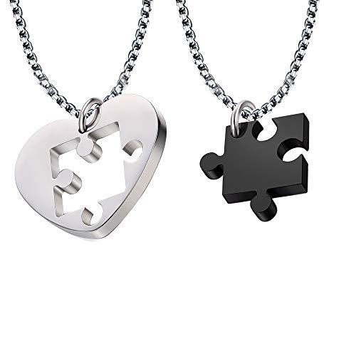 JTOOYS Par de collares, 2 colgantes en forma de puzle en forma de corazón, cadena de 50 cm, acero y titanio, par de colgantes, juego de rompecabezas a juego para parejas/novias