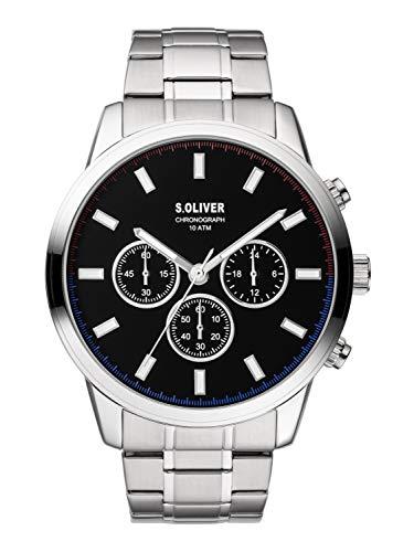 s.Oliver Herren Chronograph Quarz Uhr mit Edelstahl Armband SO-3857-MC