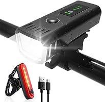 Luz Bicicleta Recargable USB ,Linterna Bicicleta LED Impermeable Conjuntos de Faros Delanteros y Traseros para Ciclismo,...