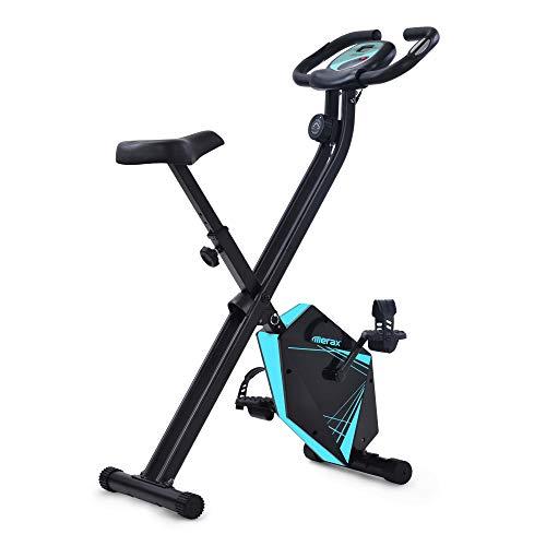 Joycelzen Bicicleta Estática Plegable, Pantalla LCD Bicicleta Fitness F-Bike con Niveles de Resistencia Magnética y Sensor de Pulso, para Gimnasio en Casa, Oficina, Culturismo, Max.110kg, Azul