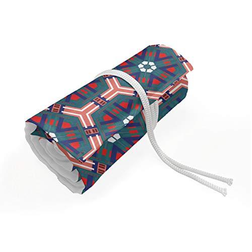 ABAKUHAUS traditionell Mäppchen Rollenhalter, Hexagonal Fliesen, langlebig und tragbar Segeltuch Stiftablage Organizer, 72 Schlaufen, Mehrfarbig