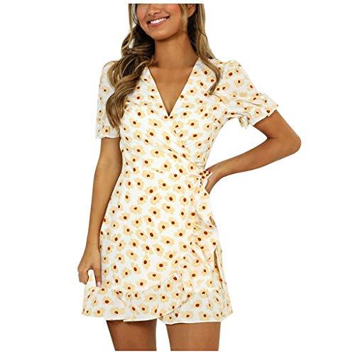 Janly Clearance Sale - Vestido para mujer, diseño de manga corta, estampado floral de cintura alta, vestido con cuello en V, para otoño (amarillo-L)