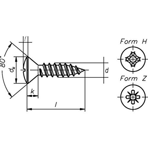 DIN 7983, Linsensenk-Blechschrauben-C-H, 2,9 x 16, galv. verzinkt, VE: 100Stück