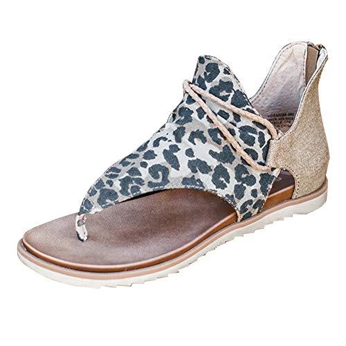 AARDIMI Damen Sommer Flat Heel Round Toe Back Reißverschluss Sandalen Frauen Peep Toe Casual Flip Flop Schuhe (Leopard, Numeric_41)