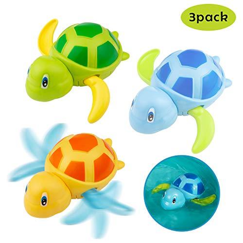 Diealles Shine Badespielzeug Baby, 3 Stück Schwimmen Badewanne Pool Spielzeug Uhrwerk Schildkröte Badewannenspielzeug Für Kleinkinder Jungen Mädchen