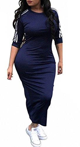 Remelon Womens Casual Striped Half Sleeve Crewneck Tunic Bodycon Long Pencil Midi Dress Navy Blue XL