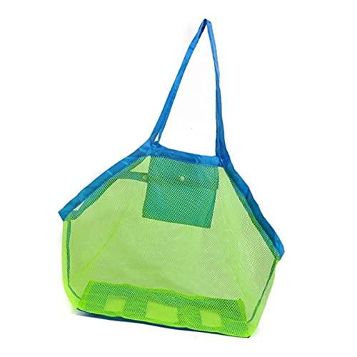 Xuanshengjia Bolsa para juguetes de playa para niños, ligera y resistente, de malla, bolsa de almacenamiento plegable, bolsa de almacenamiento de red de secado rápido, para niños en la playa