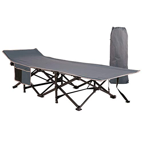 Homevibes Folding Lightweight & Portable Camping Cot with Carry Bag for Adults,Heavy Duty Stable Deluxe Collapsible Large Sleeping Bed for Hiking Hunting Traveling, 5 Colors (Gray)