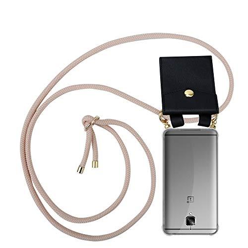 Cadorabo Handy Kette für OnePlus 3 / 3T in PERLIG ROSÉGOLD - Silikon Necklace Umhänge Hülle mit Gold Ringen, Kordel Band Schnur und abnehmbarem Etui – Schutzhülle
