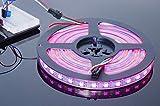 ACROBOTIC 5m 300-Pixel Addressable 24-Bit RGB LED Strip (Black PCB), 5V, IP68 Waterproof, WS2812B (WS2811), 3-Pin JST-SM Connectors Pre-Soldered to Both Ends, 60 Pixel LEDs/Meter