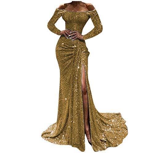 YAYAKI Glänzend Partykleid Damen Abendkleider Elegante Festliches Kleid Fransen Langarm Cocktailkleid für Hochzeit Paillettenkleid Off Shoulder...