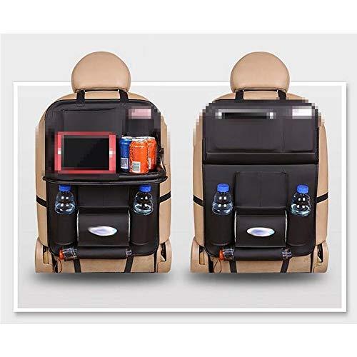 Capaciteit voor autostoel achterbank, hangtas met dienblad, handdoek van papier, reistas, tafel van PU-leer, klaptafel, achterkant.