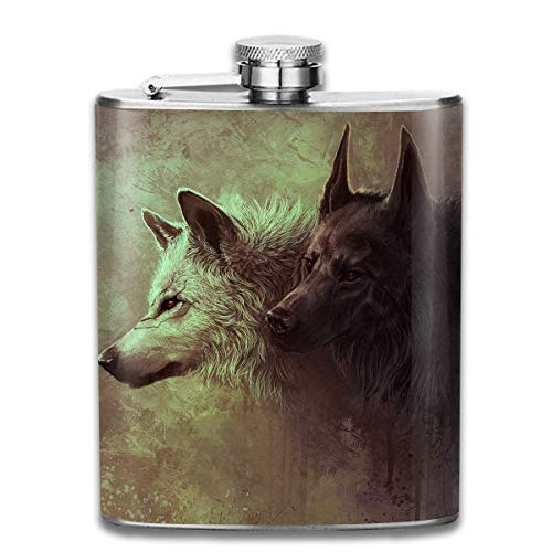 Wolf Art Fashion Portable Stainless Steel Hip Flask Whiskey Bottle for Men and Women 7 Oz