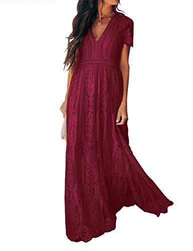 Ecosunny Women's Deep V Neck Short Sleeve Floral Lace Bridesmaid Maxi Dress Party Gown (M, V Neck-Wine)