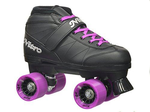 Epic Skates Super Nitro Purple Quad Speed Skates, Adult 7, Black/Purple