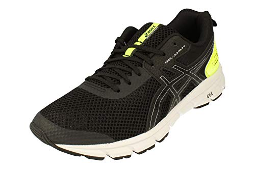 ASICS Gel-33 Run Herren Running Trainers 1011A638 Sneakers Schuhe (UK 10.5 US 11.5 EU 46, Black Silver 001)