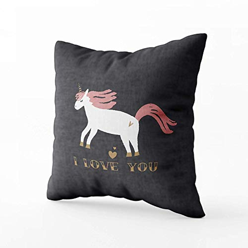 N\A Cute Unicorn Nursery Art Pastel Colors Good Pillow Case, Cotton Square Decorative Throw Pillow Case Bed Home Decor Cushion Cover Inches
