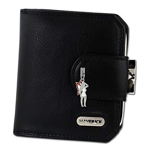 Maverick Leder Geldbörse Damen Portemonnaie schwarz 10x2,5x9cm D1OPD103S Leder Geldbörse von Maverick für die Frau