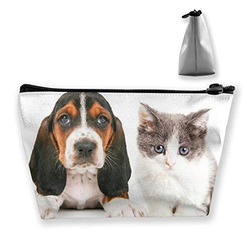 Bolsa de almacenamiento portátil Adorable Basset Hound Cachorro y Gatito Sentados Juntos...